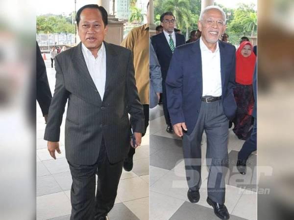 Ahmad Maslan (kiri), Shahrir (kanan) tiba di Kompleks Mahkamah Kuala Lumpur, pagi tadi. - Foto Sinar Harian ROSLI TALIB