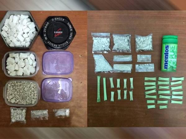 Antara dadah yang dirampas dalam serbuan petang semalam. Dadah yang siap dibungkus kecil dipercayai dipasarkan di sekitar kawasan Penaga.