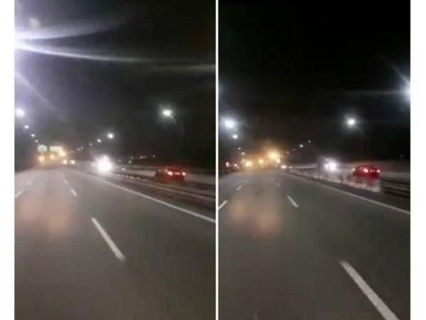 Rakaman video kereta dipandu suspek melawan arus.