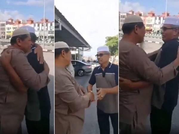 Tangkap layar video pertemuan dua sahabat yang menyentuh hati ramai netizen.