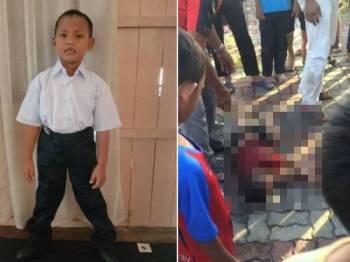 Muhammad Aiman Alfian Abdullah, 7, ditemui lemas di Sungai Terengganu berhampiran Kampung Pulau Duyong Wan Su di sini petang semalam.