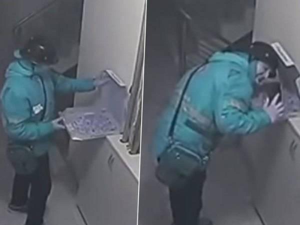Perbuatan jijik penghantar makanan itu dirakam kamera litar tertutup (CCTV).