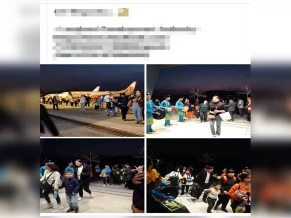 Gambar-gambar ketibaan pelancong China yang ditularkan bersama info yang salah.