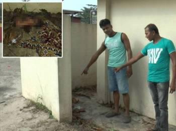 Abdul (kanan) bersama rakannya menunjukkan lokasi bayi itu ditemui. Gambar kecil: Keadaan bayi lelaki yang hanya dibalut dengan kain batik di Kampung Pulai Baru, Tepoh semalam.