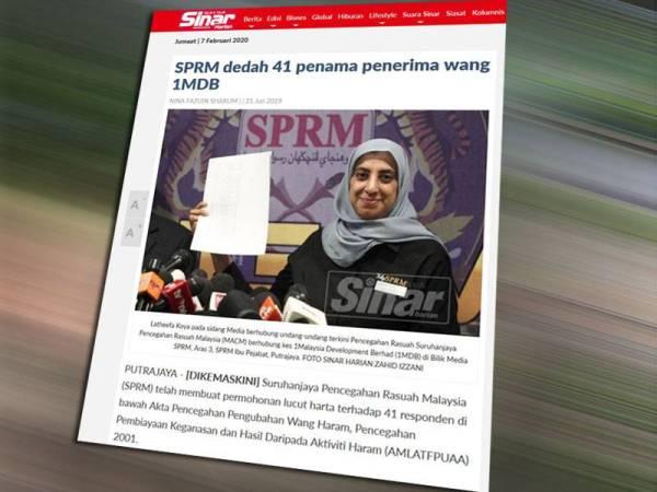 Laporan Sinar Harian berkaitan pendedahan Suruhanjaya Pencegahan Rasuah Malaysia (SPRM) berkaitan 41 penama menerima dana 1MDB.