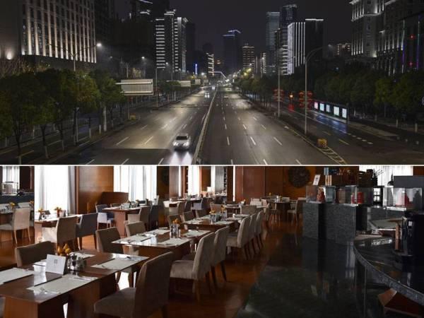 Keadaan jalan utama di Wuhan yang lengang tanpa kenderaan selepas kesemua jenis pengangkutan digantung di bandar tersebut. Premis perniagaan juga lengang tanpa pengunjung akibat kebimbangan semakin meningkat terhadap jangkitan koronavirus tersebut. - AFP