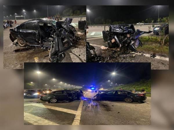 Keadaan kenderaan yang terlibat kemalangan. - Foto PDRM