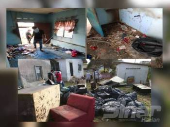 Timbunan sampah kira-kira 350 kilogram dikeluarkan dari rumah warga emas itu di Bukit Baru.
