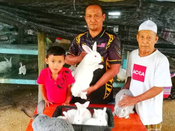 Wan Arisi (dua dari kiri) bersama anak dan ayahnya menunjukkan arnab yang dibela.