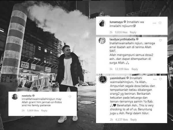 Ashraf memuat naik fotonya ketika berada di New York tiga hari lalu. - Foto Instagram Ashraf Sinclair   Antara ucapan rakan-rakan artis yang terkejut dengan pemergian arwah.
