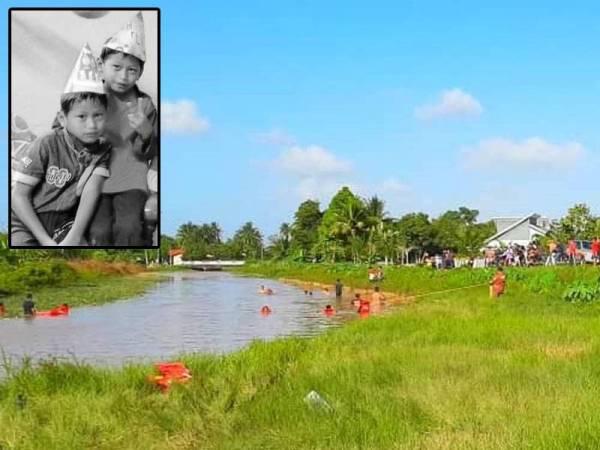 Lokasi Muhammad Harith Darwish ditemui lemas selepas bermain air bersama kembarnya dan dua lagi rakan sebaya. Gambar kecil: Muhammad Harith Darwish (kiri) bersama kembarnya, Muhammad Harraz Irfan.