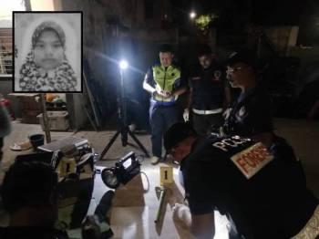 Polis yang menjalankan siasatan di lokasi kejadian menemui penukul digunakan suspek. Gambar kecil: Siti Sufiah Halim Ong