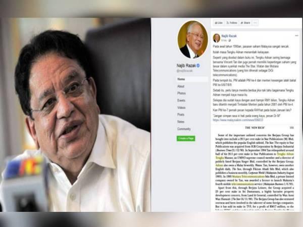 Hantaran dimuat naik Najib di laman sosial Facebook miliknya hari ini.