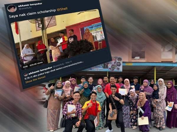 Muhammad Amir (depan, dua dari kiri) bersama rakan-rakannya di SMK Puchong Perdana ketika mengambil keputusan SPM semalam. Twitter Muhammad Amir tular di laman sosial.