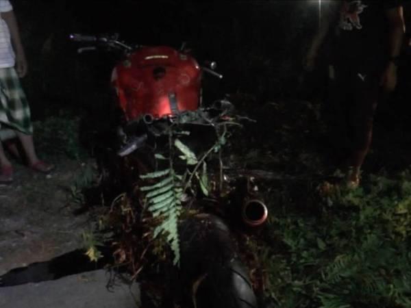 Keadaan motosikal yang ditunggang mangsa.