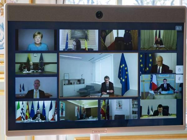 Ahli Majlis Negara Eropah menghadiri mesyuarat secara sidang video bersama Presiden Perancis, Emmanuel Macron. - Foto EPA