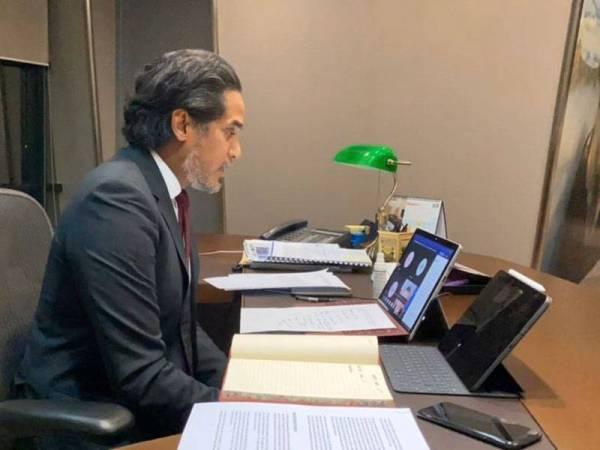 Dialog Maya Menteri-Menteri Pertubuhan Pendidikan, Saintifik dan Kebudayaan Pertubuhan Bangsa-Bangsa Bersatu (UNESCO) mengenai koronavirus (Covid-19) dan Sains Terbuka yang berlangsung hari ini. - Foto Twitter Khairy