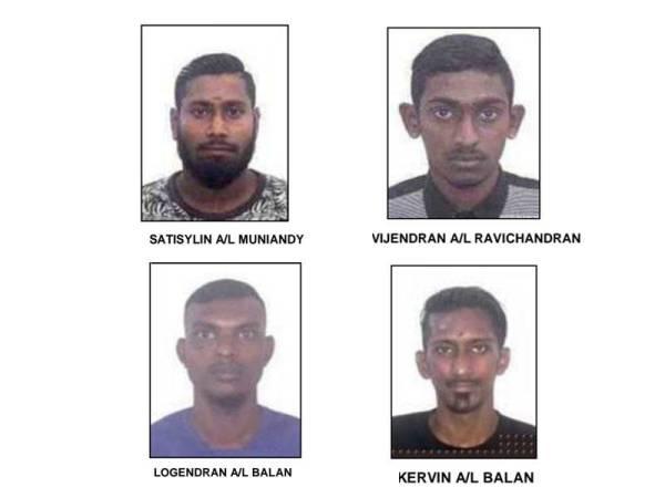 Polis cari empat lelaki bagi membantu siasatan kes samun berkumpulan yang berlaku di sebuah rumah di Jalan Dato Abdul Hamid, Klang kelmarin.