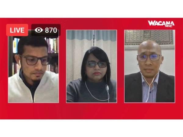 Dari kiri; Azlan Nabees, Sara dan Mohd Afzanizam pada Wacana Sinar Harian Siri 161 dengan tajuk Siapa Muhyiddin Dalam Krisis Covid-19? yang disiarkan secara langsung di Facebook Sinar Harian malam tadi.