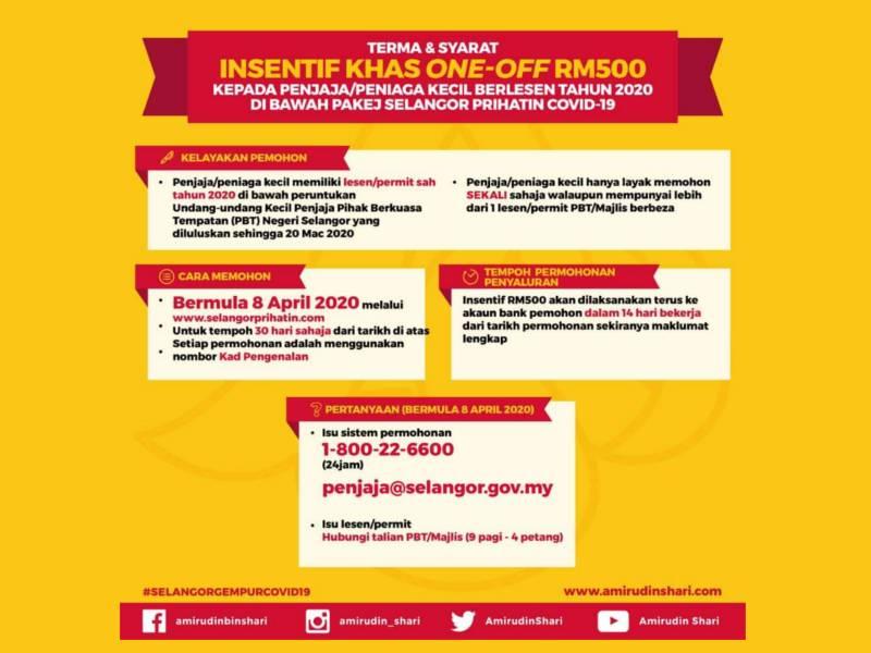 Permohonan insentif khas RM500 ditawar Kerajaan Selangor kepada penjaja dan peniaga kecil berlesen di negeri. - Foto: FB Amirudin