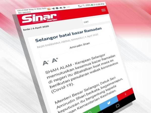 1 April lalu Kerajaan Selangor memutuskan kesemua bazar Ramadan di negeri itu dibatalkan buat masa ini berikutan penularan wabak koronavirus (Covid-19).
