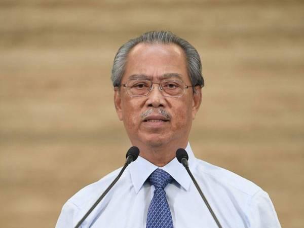 Perdana Menteri Tan Sri Muhyiddin Yassin mengumumkan Pakej Prihatin Perusahaan Kecil dan Sederhana (PKS) (Tambahan) di Bangunan Perdana Putra hari ini. - Foto Bernama