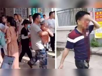 Seramai 37 pelajar cedera ringan sementara dua guru mengalami kecederaan teruk selepas diserang lelaki bersenjatakan sebilah pisau di Sekolah Rendah Pusat Wangfu, China hari ini. Foto: Agensi