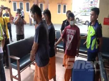Ketiga-tiga suspek direman selama tujuh hari di Mahkamah Majistret Marang hari ini.