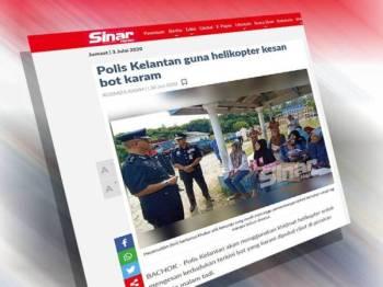 Antara laporan Sinar Harian berkaitan insiden bot karam di Kelantan.