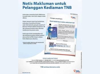 TNB mengumumkan setiap pengguna akan menerima satu Notis Makluman mengenai BPE pada bulan Julai 2020 selepas meter dibaca.