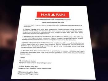 Kenyataan PH Johor yang dikeluarkan malam tadi.