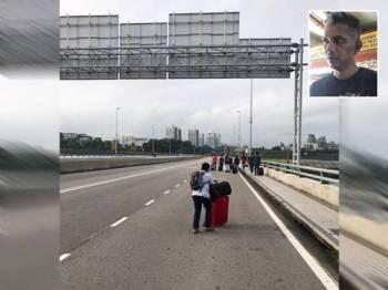 Rakyat Malaysia yang bekerja di Singapura terpaksa berjalan kaki sejauh kira-kira empat kilometer dari Tambak Johor ke Kompleks Pemeriksaan Kastam Woodlands, Singapura berikutan perkhidmatan bas atau teksi masih tidak dibenarkan beroperasi. Gambar kecil: Intheran