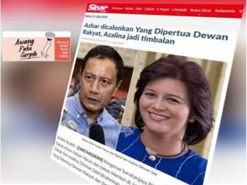 Datuk Azhar Azizan Harun dan Datuk Seri Azalina Othman Said dicalonkan dalam usul untuk menggantikan Yang Dipertua Dewan Rakyat dan timbalannya.