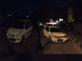 Kereta peronda polis remuk selepas dirempuh kereta suspek dalam kejadian di kawasan Bukit Tengah malam tadi.
