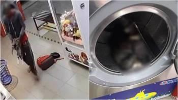 Tular rakaman CCTV seorang lelaki bertindak kejam membunuh tiga ekor kucing dengan meletakkan haiwan itu di dalam mesin basuh di kedai dobi di Kepong.