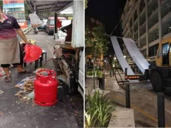 Antara gerai yang dikenakan tindakan dalam Operasi Penguatkuasaan Anti Litter di sekitar Taman Sungai Besi (gambar kiri), dan DBKL terpaksa menggunakan kren bagi menurunkan iklan tanpa lesen di sekitar kawasan Jalan Bunus 6 Off Jalan Masjid India.