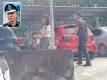 Gambar pasangan kekasih tersebut tular selepas didakwa memakai gelang berwarna merah jambu pengesanan Covid-19 di kawasan parkir Bukit Bendera. Gambar kecil: Soffian