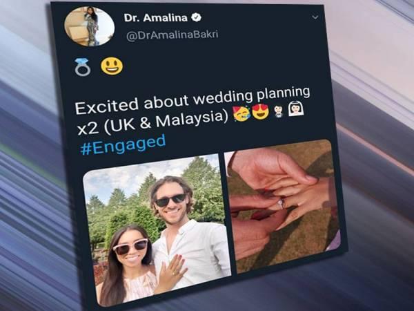 Dr Nur Amalina umum bertunang di Twitter rasminya.
