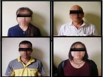 Suspek yang ditahan untuk membantu siasatan dalam kes memasang bendera Malaysia dan bendera Johor secara terbalik di sebuah kilang di Kawasan Perindustrian Tebrau, Johor Bahru semalam.