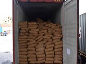 Kontena yang membawa makanan ikan dari Taiwan ditahan di Pelabuhan Pangkalan Kontena Butterworth Utara (NBCT) di sini pada 16 Julai lalu.