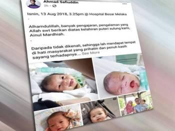 Ahmad Safiuddin meluahkan rasa, kasih dan sayang terhadap Ainul Mardhiah.