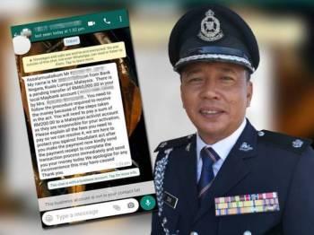 Contoh mesej yang dihantar sindiket kepada mangsa melalui WhatsApp (foto: ihsan IPD Marang). Gambar kiri: Deputi Superintendan Mohd Zain Mat Dris