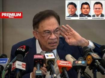 Presiden Parti Keadilan Rakyat (PKR) Datuk Seri Anwar Ibrahim pada sidang media kelmarin. -Foto Bernama