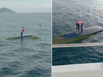 Pemancing yang dilaporkan hilang semalam ditemui selamat berpaut pada bot dekat Pulau Seri Buat pagi tadi. - Foto APMM