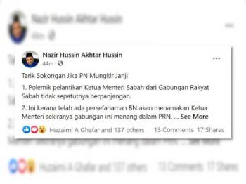 Hantaran Nazir Hussin Akhtar Hussin di Facebooknya.