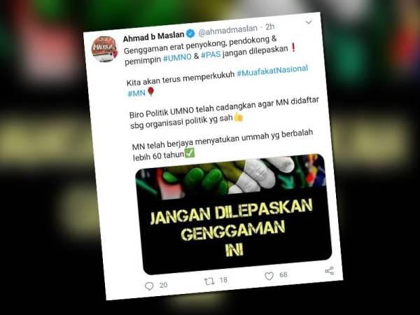 Ciapan Ahmad di Twitter beliau hari ini mengenai cadangan Biro Politik MKT UMNO agar Muafakat Nasional didaftarkan.