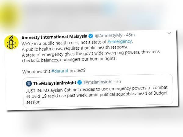 Tangkap layar ciapan Amnesty International Malaysia hari ini.