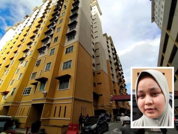 Mangsa dipercayai tergelincir dari tingkat atas flat 15 tingkat yang didiami keluarganya di Flat Ladang Gemilang 1 Kuala Terengganu petang tadi. (Saksi kejadian: Siti Mafatehah Alias)