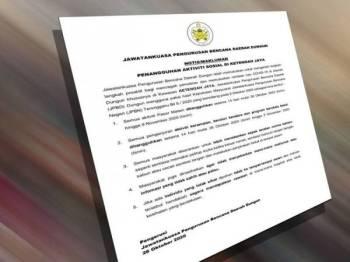 Notis penangguhan aktiviti sosial di Ketengah Jaya, Dungun berikutan kes Covid-19.