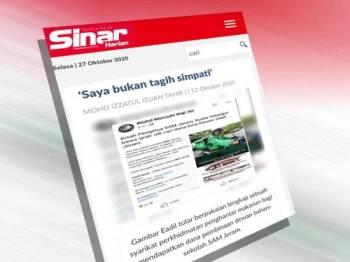 Keratan portal Sinar Harian yang menunjukkan Eadil melakukan gimik dengan berpakaian lengkap sebuah syarikat perkhidmatan penghantar makanan tular di media sosial.